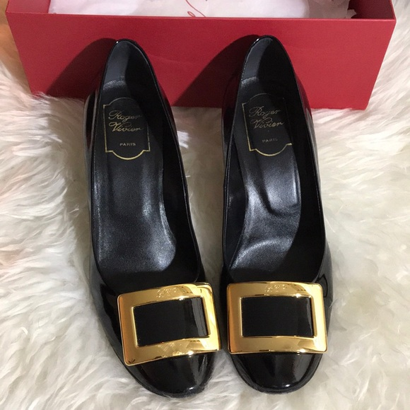 c806a52a93 Roger Vivier Shoes | Roger Viviev Black With Gold Heels | Poshmark